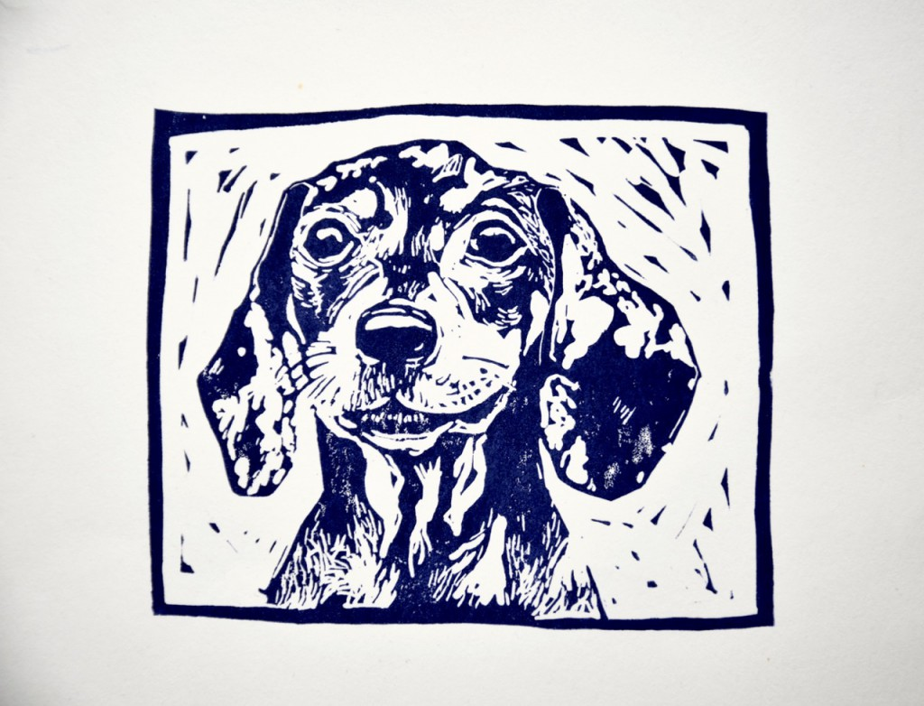 Linocut dog portrait surrey