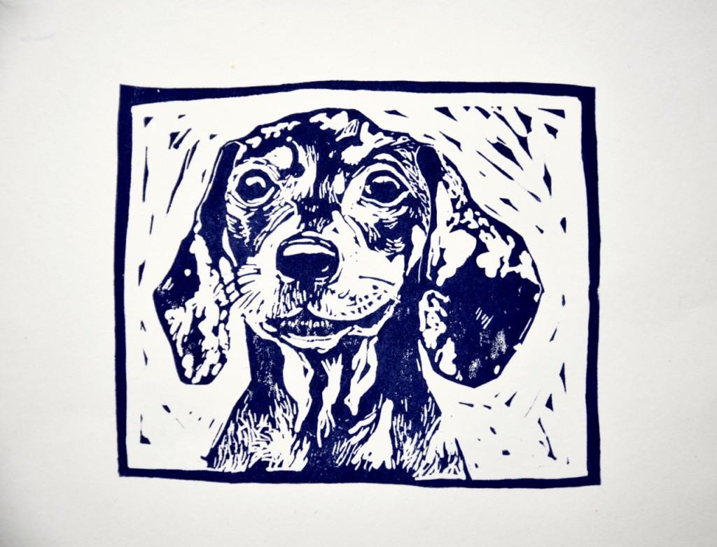 Linocut dog portrait surrey