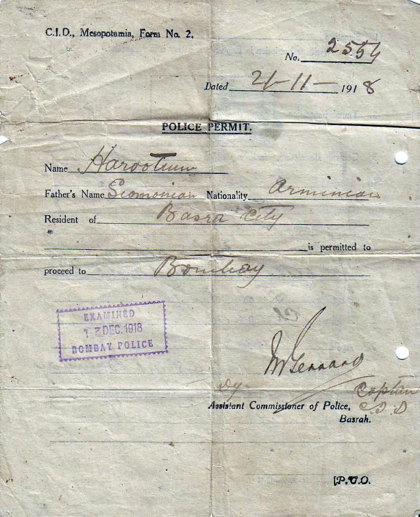 1918 NHSPolicePermitBASRA