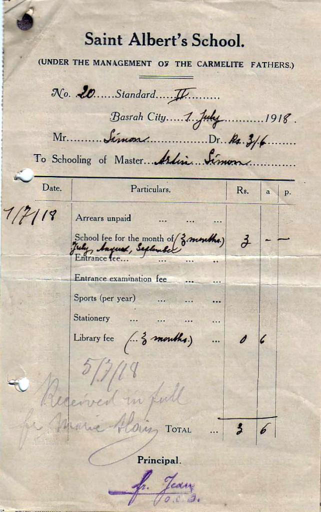 1918 NHSschoolbillBASRA
