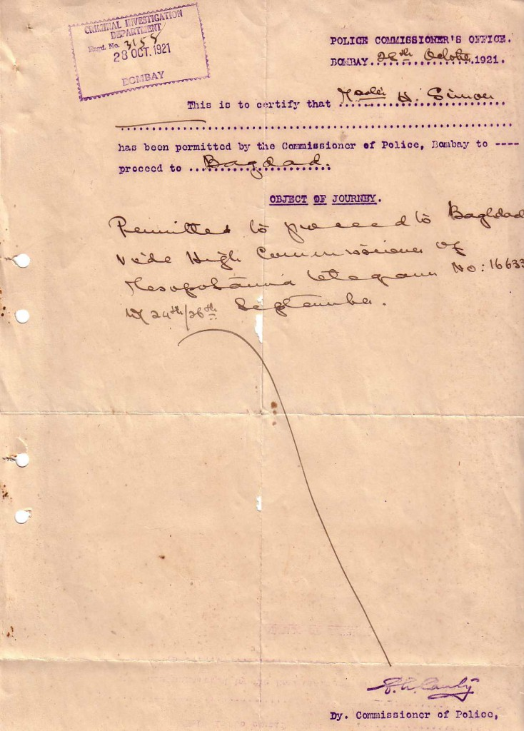 1921 NHSTravelBombaytoBaghdad
