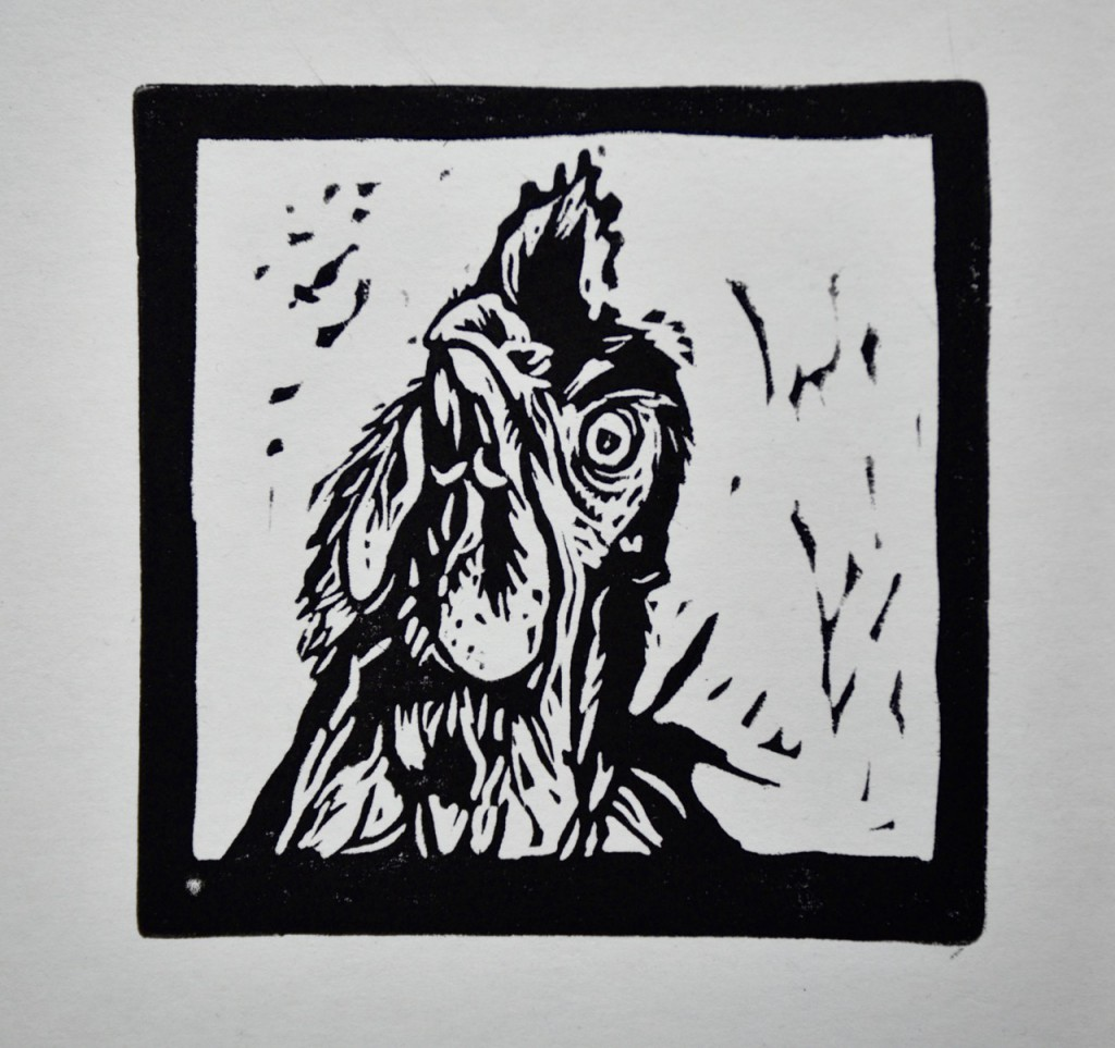 Linocut pet portrait surrey